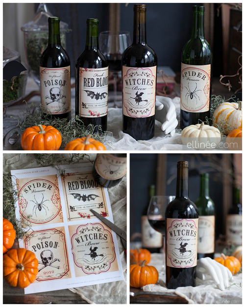 DIY Halloween Wine Bottle Labels from Curio.If you see…