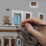 Acrylic painting tutorial – French cafe scene – Part 3