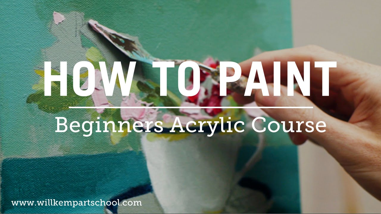 Beginners acrylic painting course new for Canvas painting tutorial for beginners