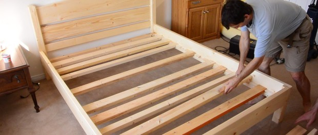Building a queen size bed from 2×4 lumber