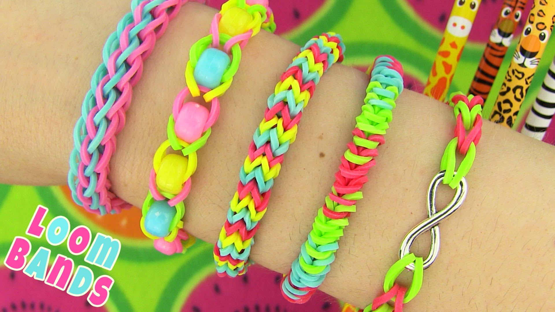How to Make Loom Bands. 5 Easy Rainbow Loom Bracelet Designs without a Loom – Rubber band Bracelets