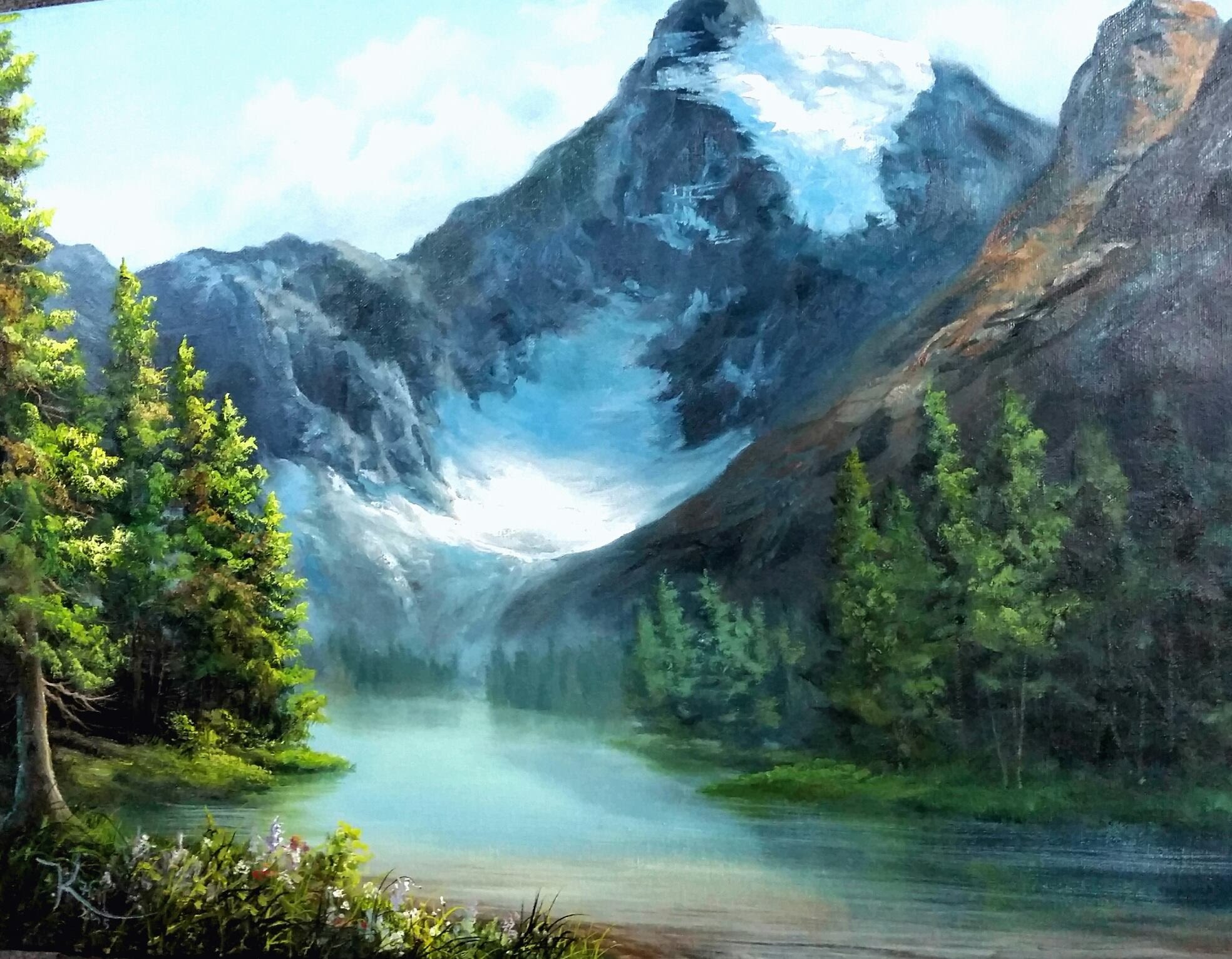 Paint with kevin hill – snowy mountain forest | diy. Fyi.