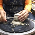 Trimming Miniature Pots with a chum and chuck on the Potter's Wheel!