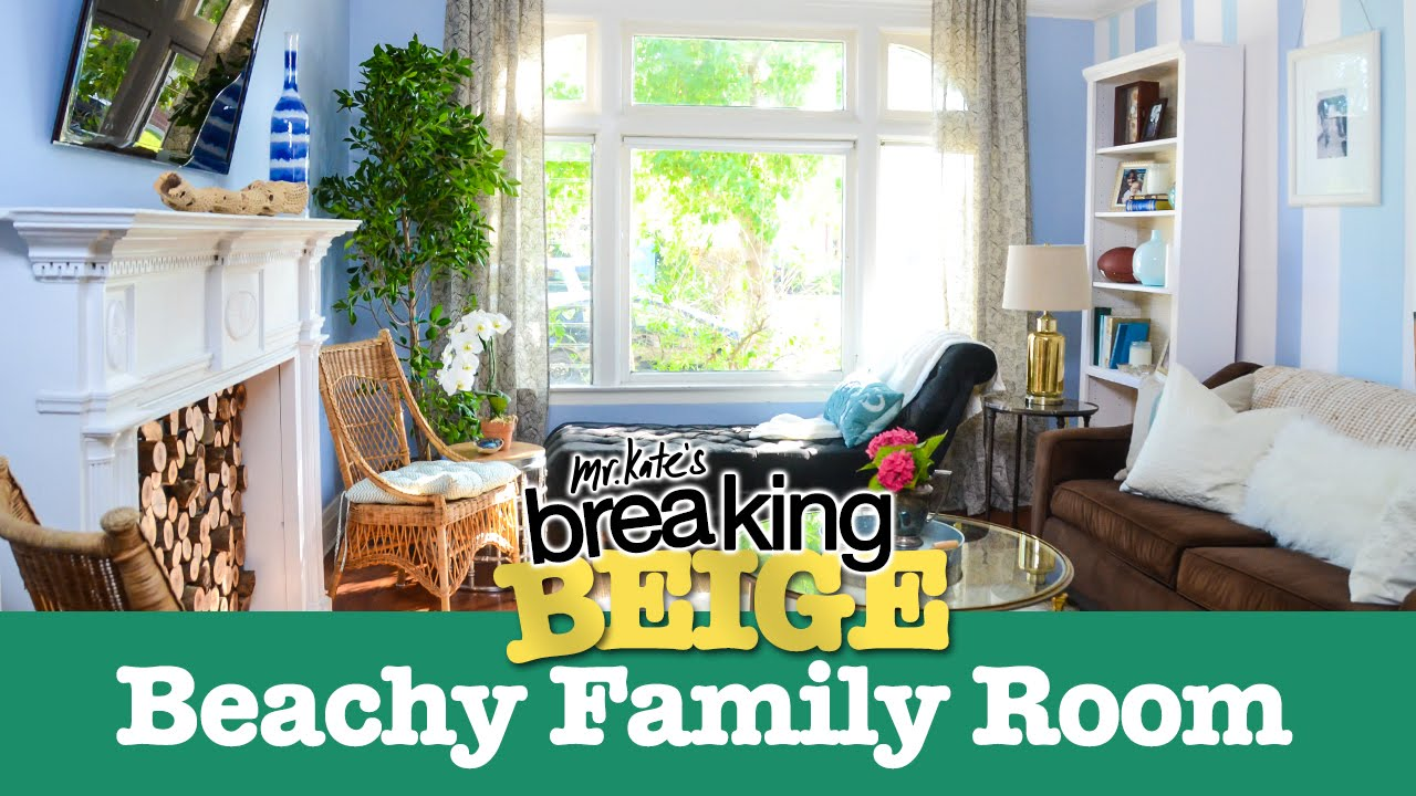 Beautiful beachy family room part 2 breaking beige before and after diy home decor mr Home decor survivor 4