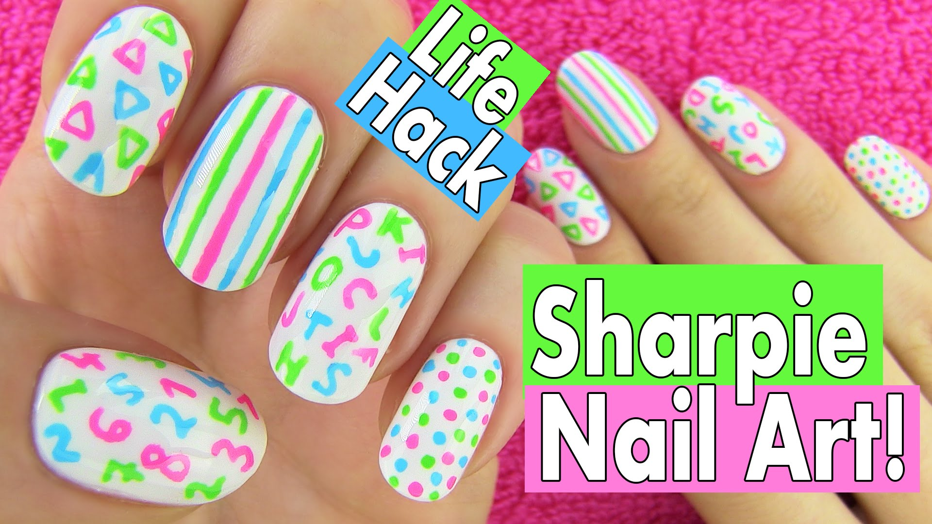 Sharpie Nails Nail Art Life Hacks 5 Easy Designs For Back To School