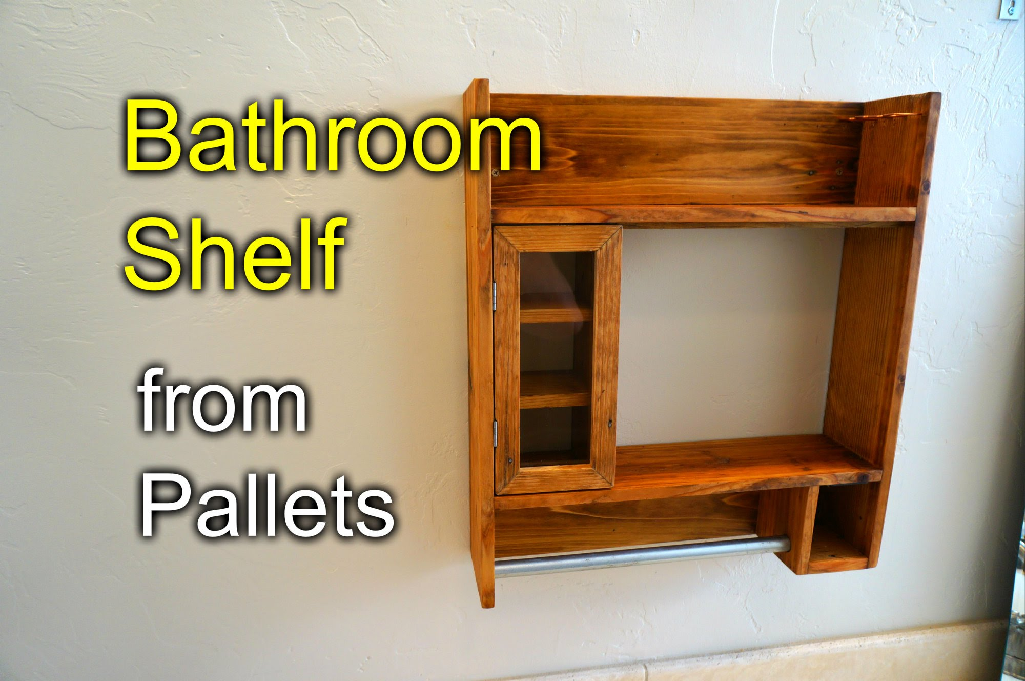 Bathroom shaving shelf from pallet wood for Wood craft shelves