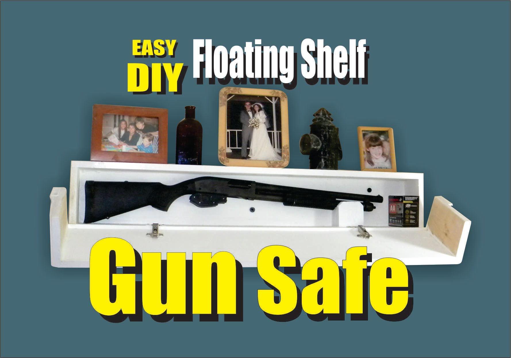 DIY Floating Shelf Secret Hidden Gun Safe | diy.fyi