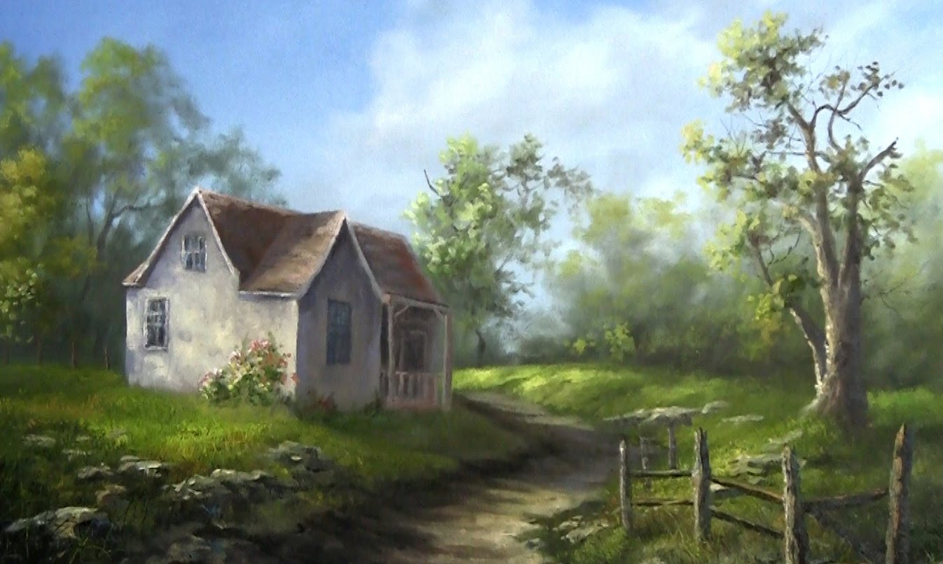 Oil painting old farm house paint with kevin hill for Classic house painting