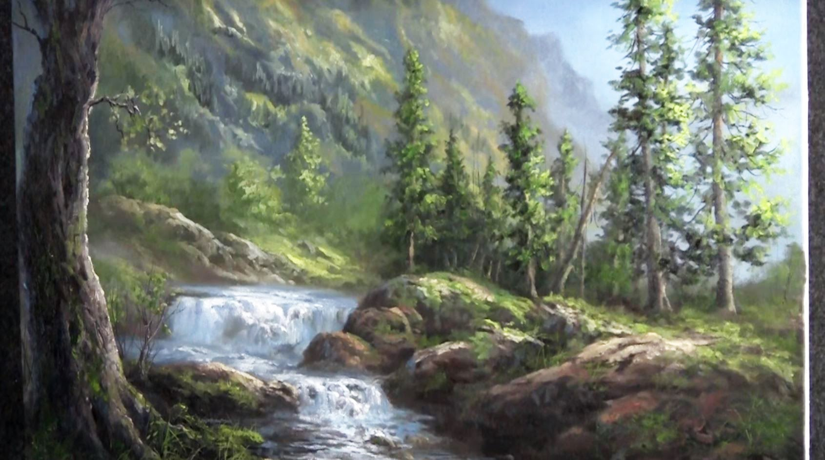 Oil painting waterfall landscape paint with kevin hill for Waterfall landscape